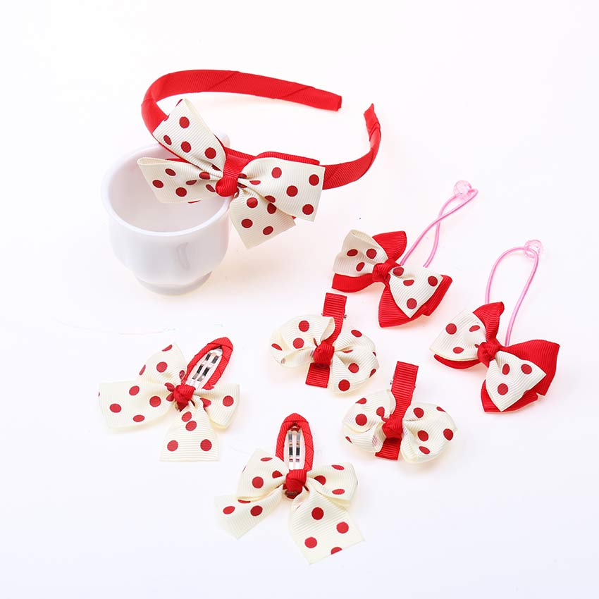 7PCS/Set Children Headband Hairpins Hair Accessories Dot Bow Hair Hairband for Girls Princess Hair Clips Bobby   Headwear