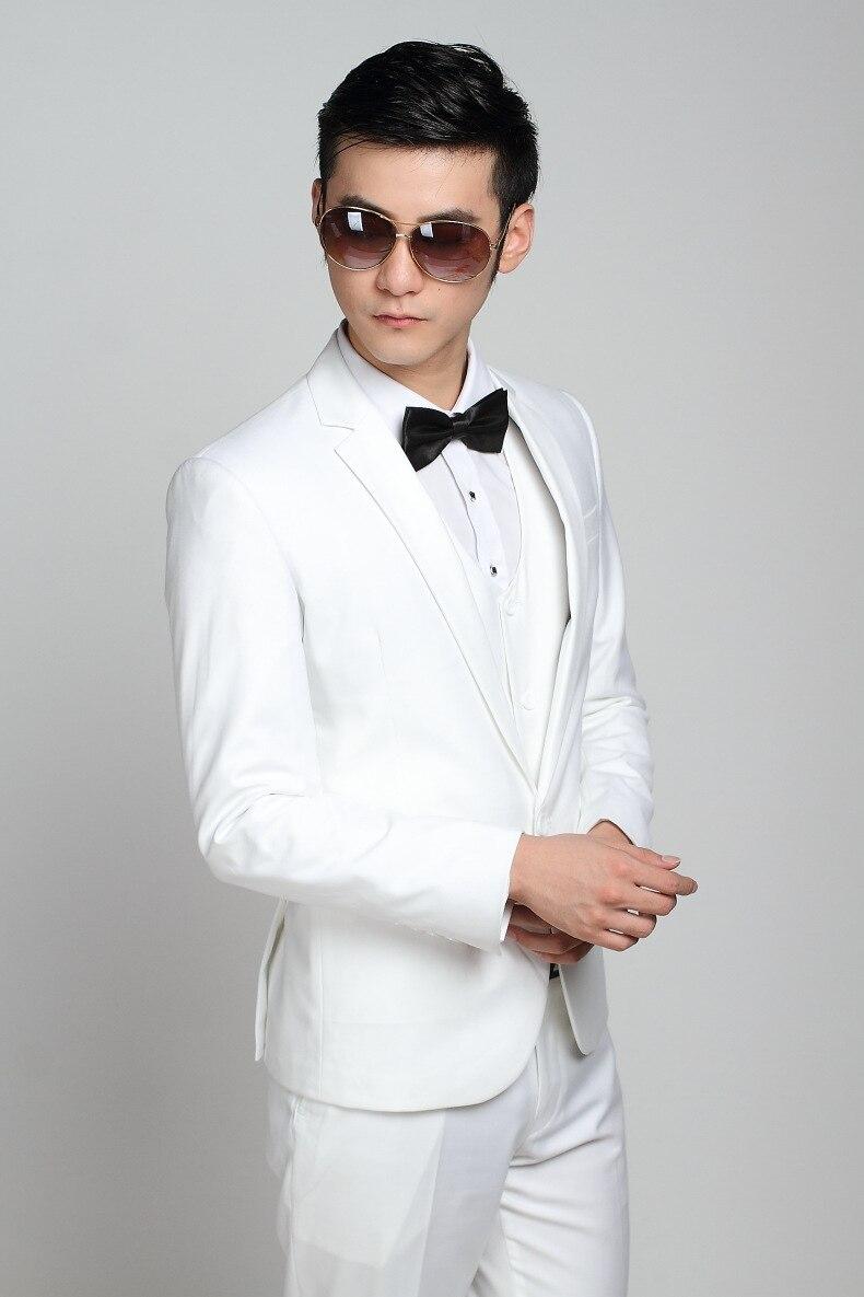 Fashion Brand Groom White Wedding Suits Slim Fit One Button Tuxedo ...