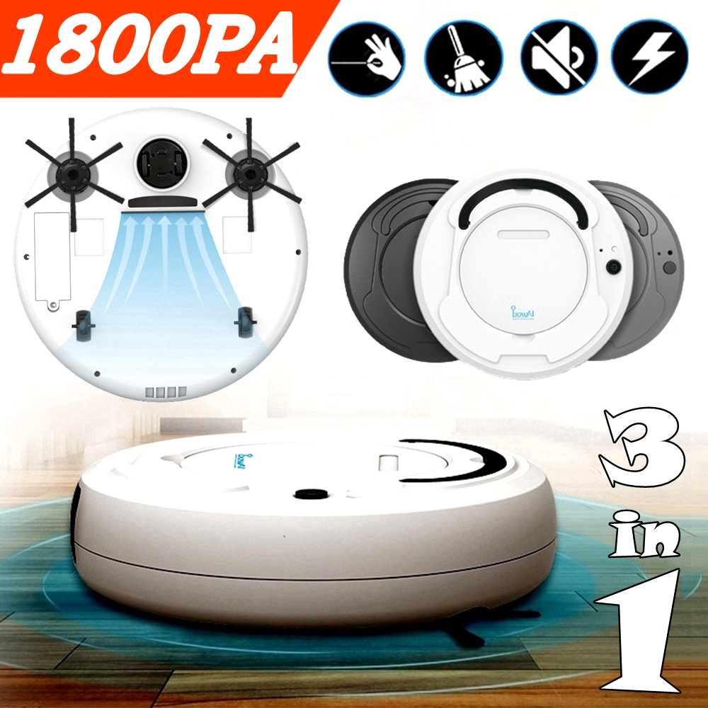 3-in-1 Rechargeable Auto Smart Sweeping Robot Vacuum Cleaner Strong Suction Dust Collector Floor Mopping Home Living Appliance