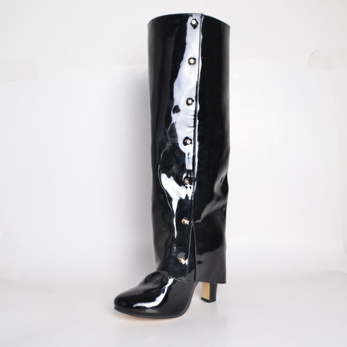 Black Knee Boots Women Shoes Patent Leather Custom Made Size Fashion Ladies Pointed Toe Square High Heel 2015 rwby lie ren cosplay boots shoes adult men s pu leather flats knee high black peep toe boots shoes custom made
