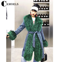 CKMORLS New Real Silver Fox Fur Coat Winter Women Parka Coats Fashion Streetwear Long Slim Casual Fur Jacket With Fox Fur Collar