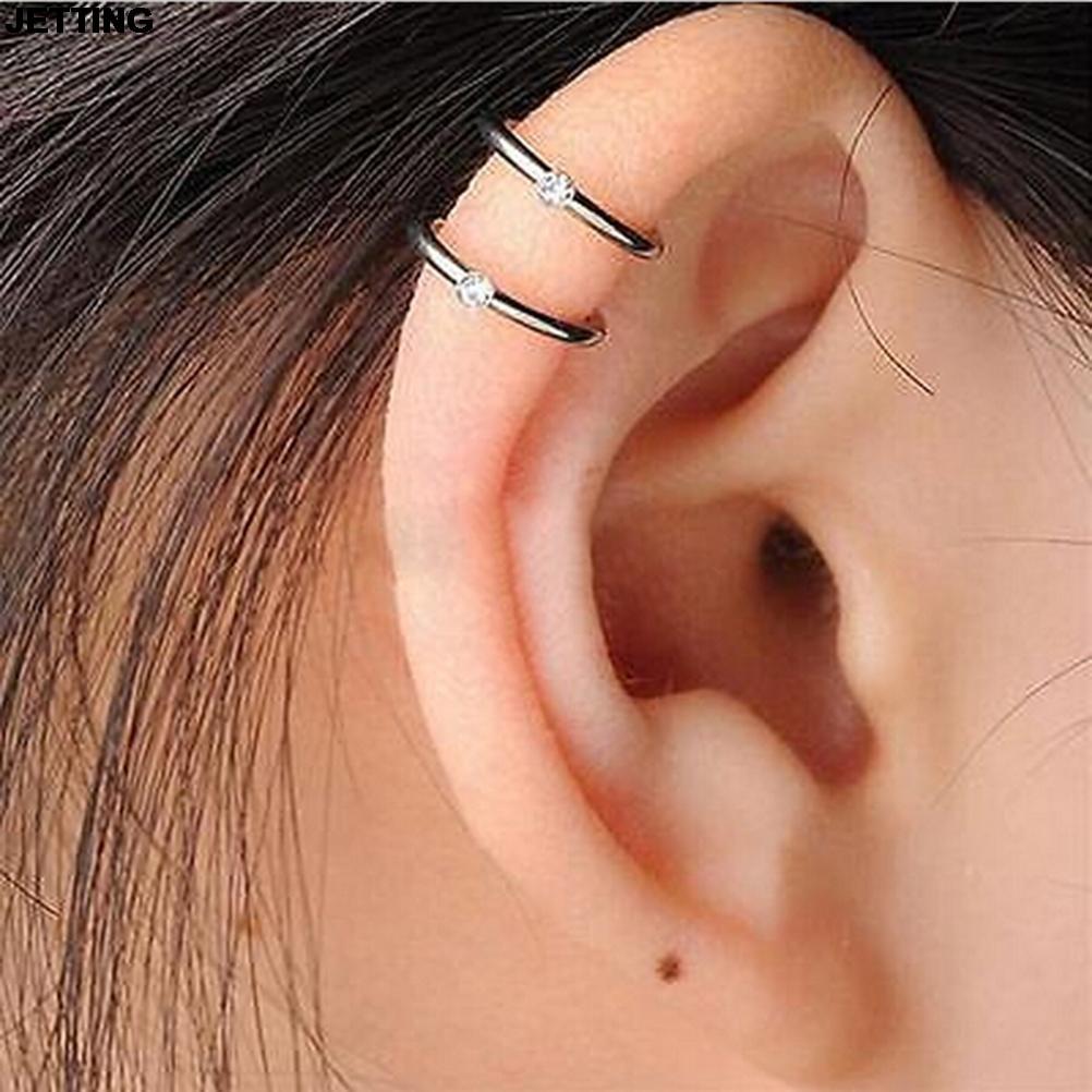 JETTING 1 Pc Silver Plated Ear Cuff Wrap Stud 2/3 Row Helix Cartilage Earrings Clip on Piercing U Shape