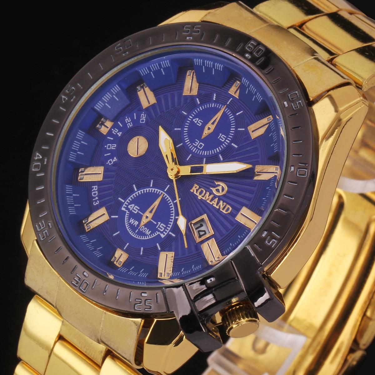 2016 Mens Black Dial Gold Stainless Steel Date Analog Sport Quartz Watch Luxury Brand Wristwatch Relogio Masculino Relojes#77 xiniu men s fashion luxury watch stainless steel sport analog quartz mens wristwatch