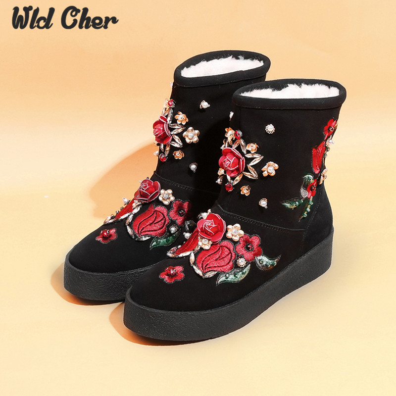 ФОТО Free shipping! Classic Nature Wool real sheepskin leather snow boots for women flower winter shoes High Quality Special offer