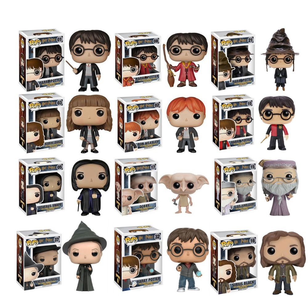 POP Harri Potter Snape Dobby Luna Fred RON WEASLEY Hermione ALBUSE DUMBLEDORER Malfoy Action Toy Figures Collection Model Toys
