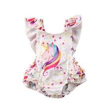 Одежда для новорожденных для девочек с единорогом Ромпер без спинки с Детские комбинезоны спортивный костюм, пляжный комплект