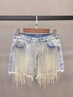Dressnow 2018 летние новые короткие женские бисером кисточкой джинсовые шорты