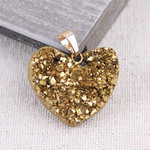 Druzy Gem Pendant Geode Crystal Agates Necklace Colorful Heart Drop Solid Natural Stone Pendants For Jewelry Making