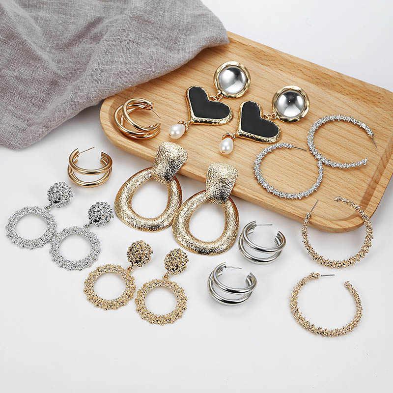 Boho Statement Jewelry Brincos Bohemian Earrings Round Square Geometric Earrings Metal Earrings Za Silver Gold Vintage Earrings