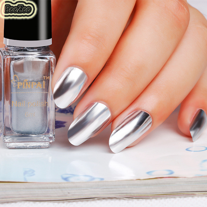 Blue Zoo 6 Ml Metallic Mirror Nail Polish Y Color Silver Glitter Effect Varnish Nails Art Tools In From Beauty