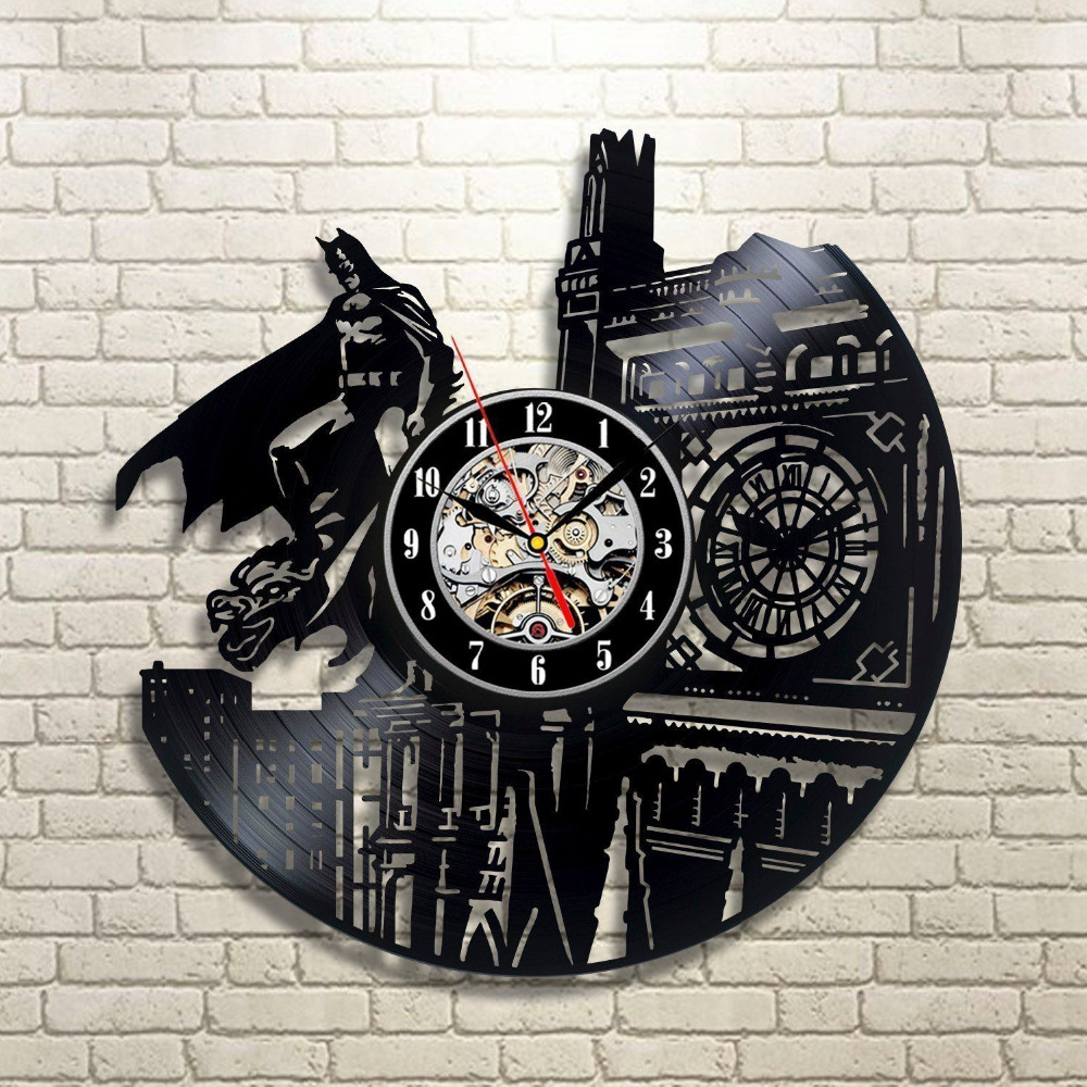 2019 Hot CD Record Väggklocka Modern Vinyl Evolution Dark Knight Väggklocka Classic Clock Relogio De Parede Decorativo