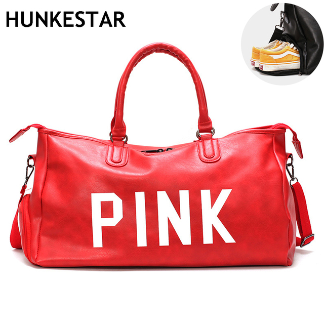 61051bbfe0dc2 US $23.99 20% OFF|2018 New Red Black Pu Sports Bag Lady Large Duffel Gym  Bag Leather Women Yoga Fitness Sac De Sport with Shoe Compartment-in Gym  Bags ...