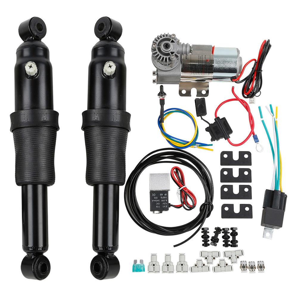 Motorcycle Adjustable Rear Air Ride Suspension Kit For Harley Touring Road King Bagger Electra Street Tour