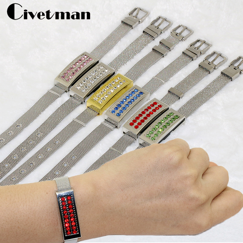 Jewelry Crystal Bracelet 8GB 16GB 32GB 64GB 128GB USB Flash Drive Metal USB Memory Pen Drive U Disk Wristbands Model Pendrives
