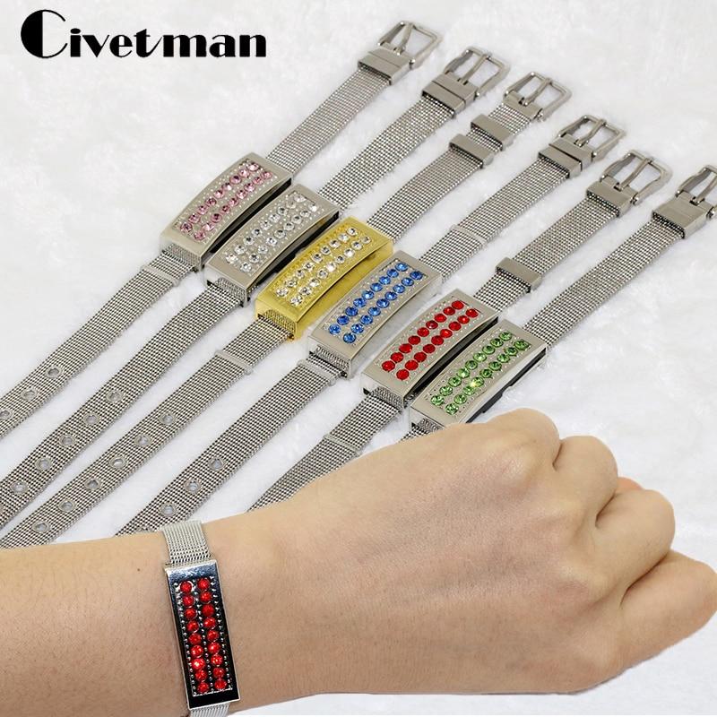 Jewelry Crystal Bracelet 8GB 16GB 32GB 64GB 128GB USB Flash Drive Metal USB Memory Pen Drive U Disk Wristbands Model Pendrives 64gb silicone bracelet u disk white