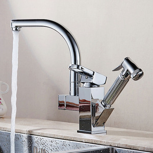 Image 3 - Polished Chrome Dual Spout Pull Out Kitchen Faucets Deck Mounted Shower Sprayer Kitchen Taps with Hot and Cold Water Pipes