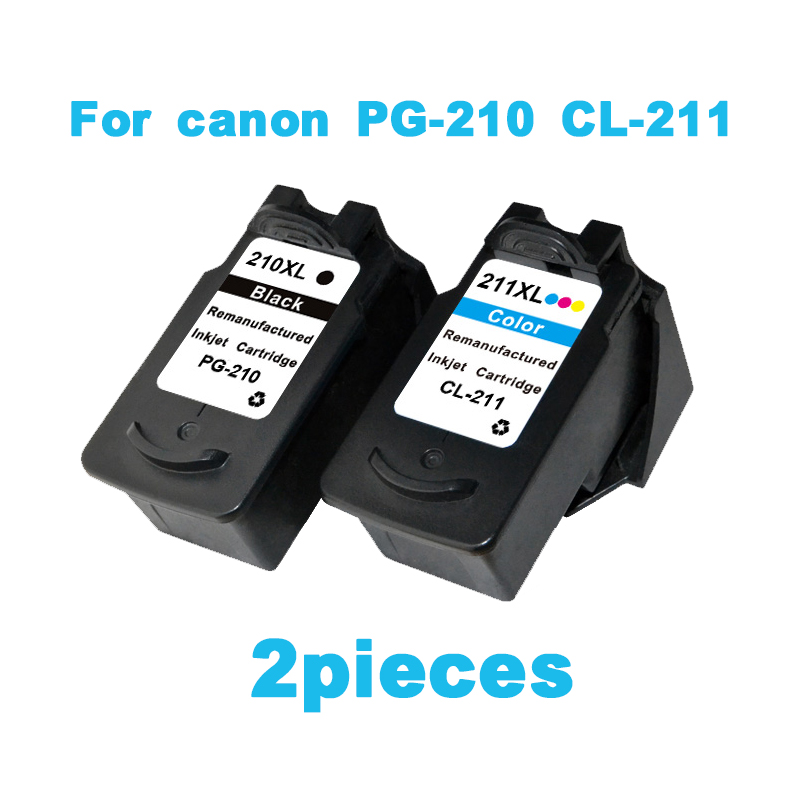 2pcs Ink cartridge For canon PG210 CL211 Pixma IP2702 MP240 MP250 MP270 MP490 MX320 MX340 printer ink cartridges PG 210 CL 211 pg 512 xl pg 512xl pg512 pg512xl pg 512 512xl ink cartridges remanufactured for canon pixma mp480 mp490 mp492 mp495 mp499 mx320