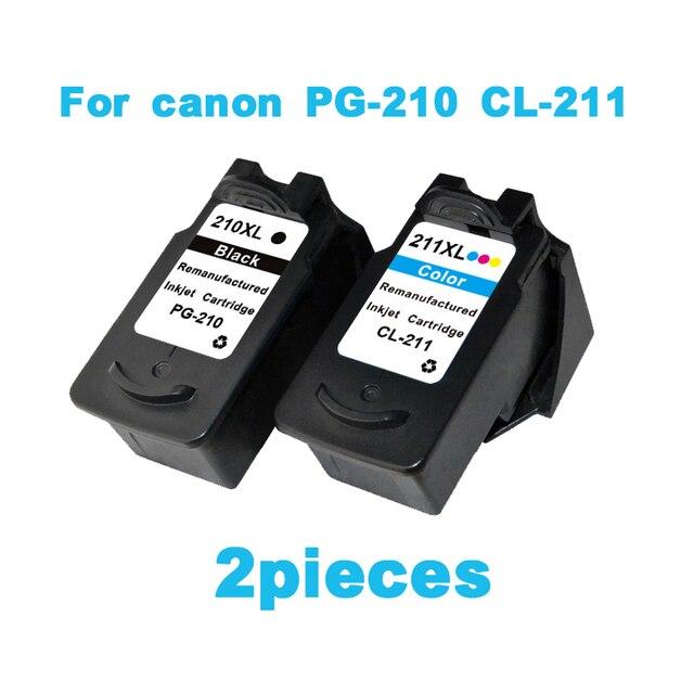 2pcs Ink Cartridge For Canon PG210 CL211 Pixma IP2702 MP240 MP250 MP270 MP490 MX320 MX340 Printer