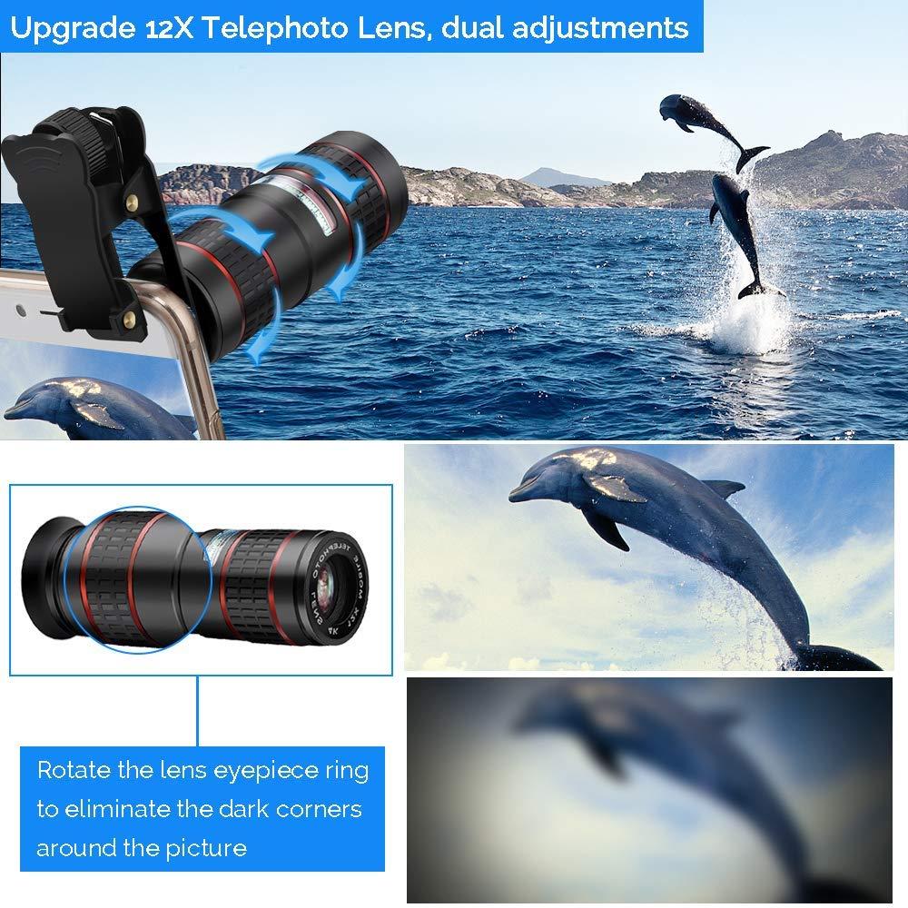 Fotos de la cámara del teléfono con lente DSLR: teleobjetivo con Zoom 12X + gran angular 0,36x + lente Super ojo de pez + lente Macro 15X (2 uds) para iphone Android - 3
