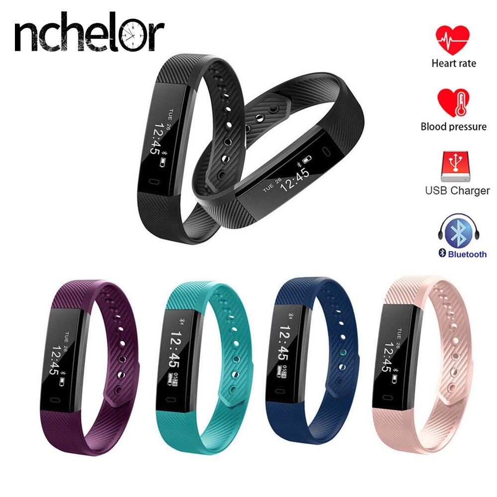 NUOVA Smart Wristband ID115HR di Frequenza Cardiaca Della Vigilanza Degli Uomini Delle Donne di Fitness Tracker Chiamata Messaggio di Promemoria Impermeabile Braccialetto per Android IOS