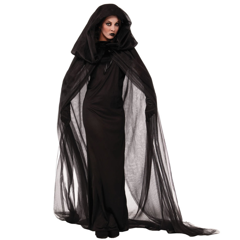 Ensen Womens noctiphobia ghost scary costumes for women with black long trench Robes longue fantasia adulto plus size cosplay