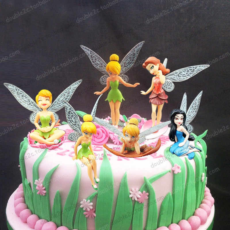 Princess Cake Topper 6pcs Set 3 Inch Tinkerbell Dolls Flying Fairy Adorable Tinker Bell Gift