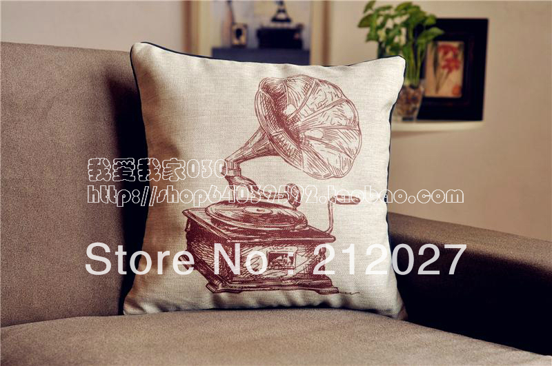 Free Shipping French Country Retro Vintage Gramophone Cotton Linen Decoratvie Cushion Cover Pillow 45cm X45cm In From Home Garden On