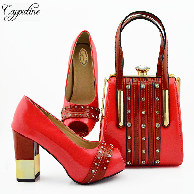Włoski styl Rhinestone buty i pasująca torba zestaw lato moda damskie szpilki buty i torba zestaw dla sukienka na imprezę MD010 w Buty damskie na słupku od Buty na  Grupa 2