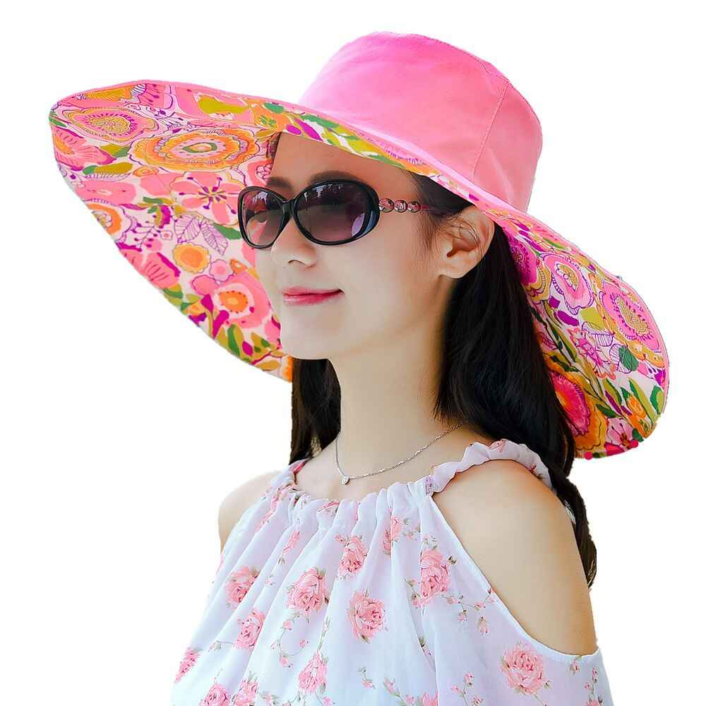 ... jiangxihuitian Brands 2018 summer new Packable Extra Large Brim Floppy  Sun Hat Reversible UPF 50+ ... 9a8fe1dda31