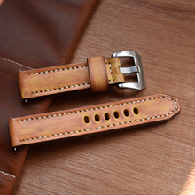 Onthelevel Genuine Leather Watchbands Yellow Watch Strap Belt Stainless Steel Polished Buckle Watch Band For Panerai 22 24mm #D цена