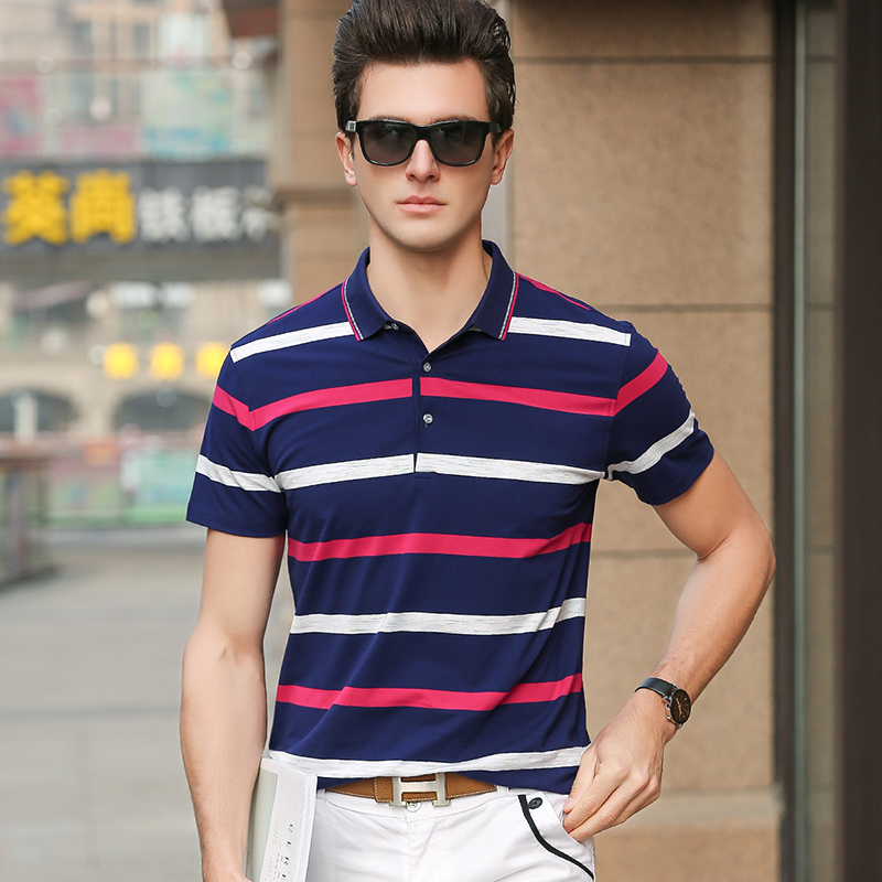 2019 New Fashion Brand Summer Designer Clothing   Polo   Shirts Men Cotton Slim Fit Short Sleeve Striped   Polos   Casual Men's Clothing