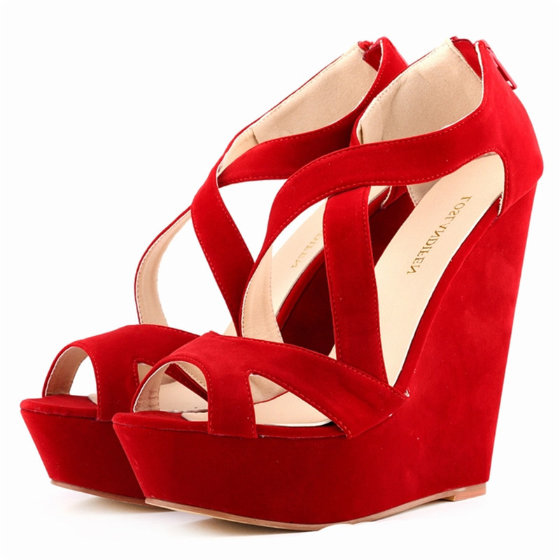 New Womens Red Sexy High Wedges Heels Shoe Platform