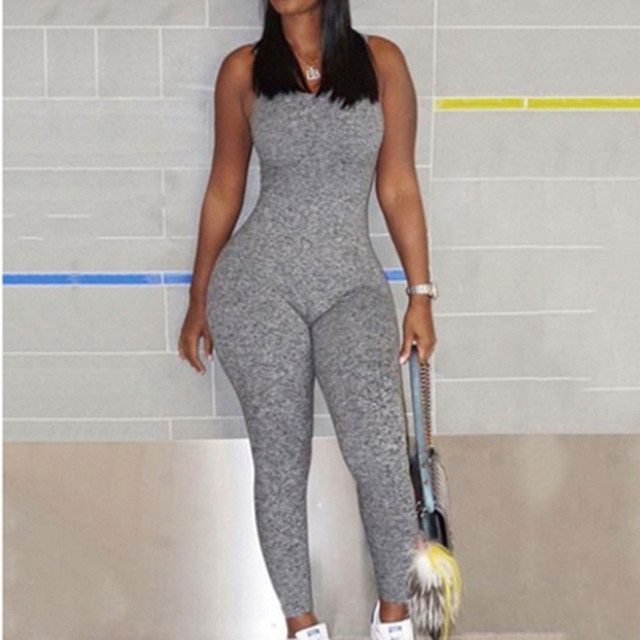 f2656fd6b40 Grey Jumpsuits Romper Hot Sale Women Casual Solid Women Sleeveless Hollow  Out Backless Regular Ladies Jumpsuit