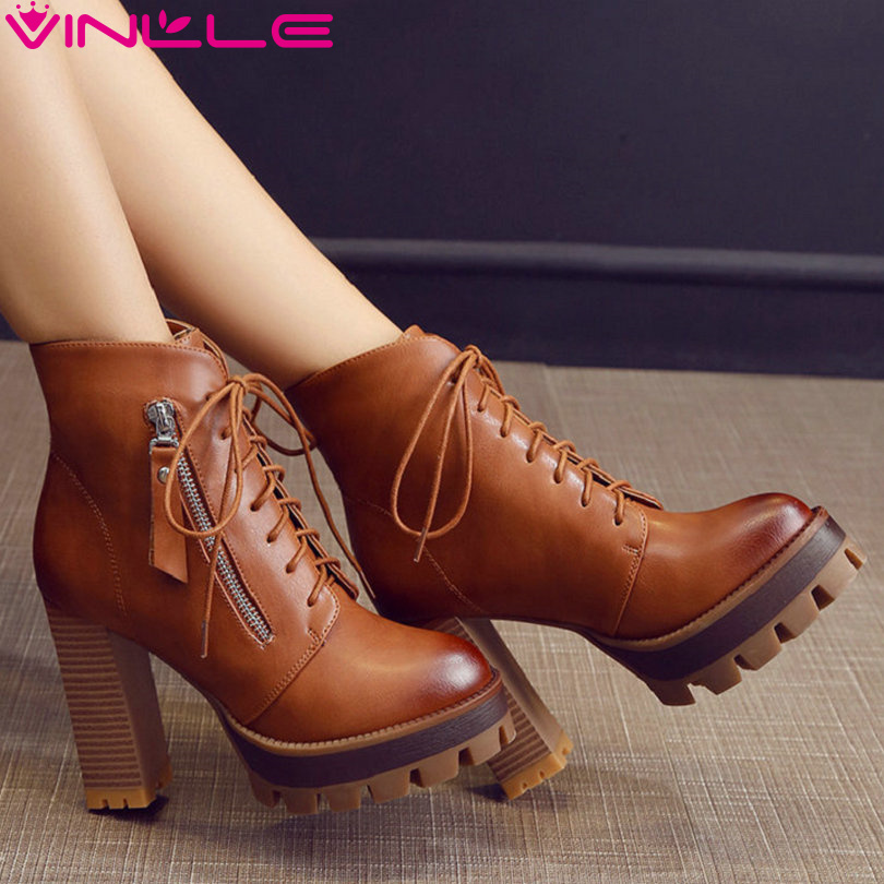 ФОТО VINLLE 2016 Women Boots Lace Up Western Style Platform PU Autumn Shoes Thick High Heel Winter Shoes Lady Ankle Boots Size 34-42