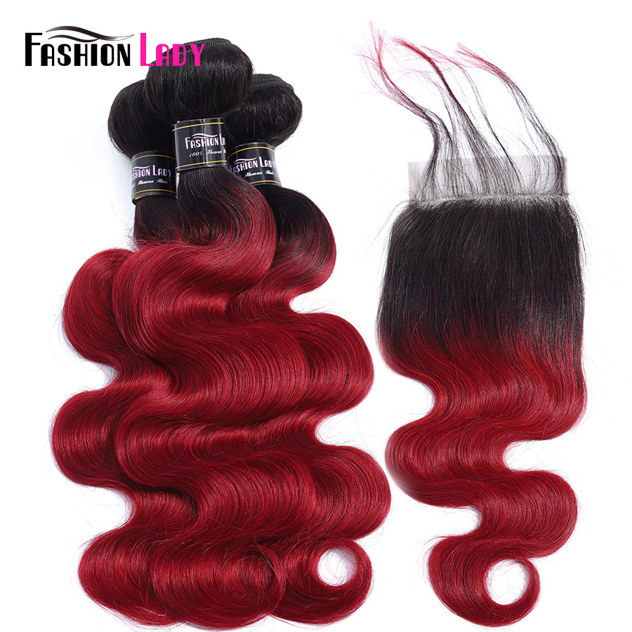 FASHION LADY Pre-Colored 100% Human Hair Ombre Color T1B/Burg Peruvian Body Wave 3 Bundles With Closure 4x4 Middle Part Non-Remy