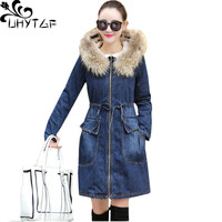 UHYTGF New Winter Cotton Coat Denim Jackets Women Hooded Thicken Warm Outerwear Slim Jeans Jackets Parka Female Coats S 3XL 967