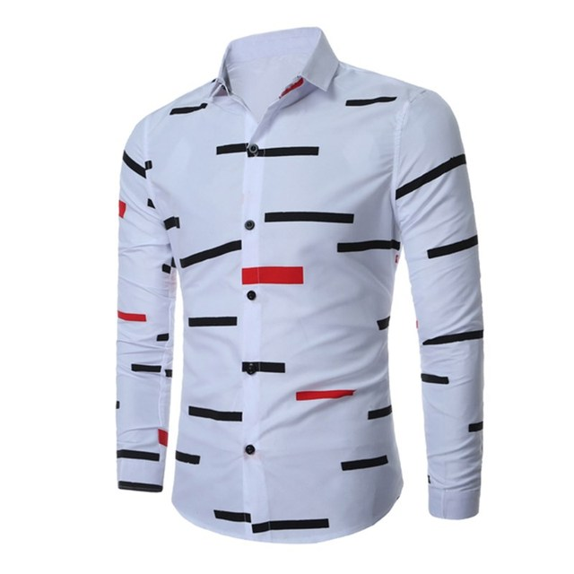 564fadd3 MK 2017 Men's Shirts Plus Size 3XL Turn Down Collar Long Sleeve Print Tops  Shirt Casual Business Male Tees Funny Top Fashion