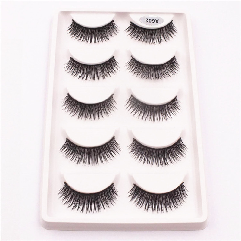 5 Pairs Transparent False Eyelashes Messy Cross Thick Natural Fake Eye Lashes Makeup Tips Bigeye Long False Eye Lashes ...