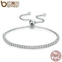 BAMOER Hot Sale 925 Sterling Silver Sparkling Strand Bracelet Women Link Tennis Bracelet Authentic Silver Jewelry