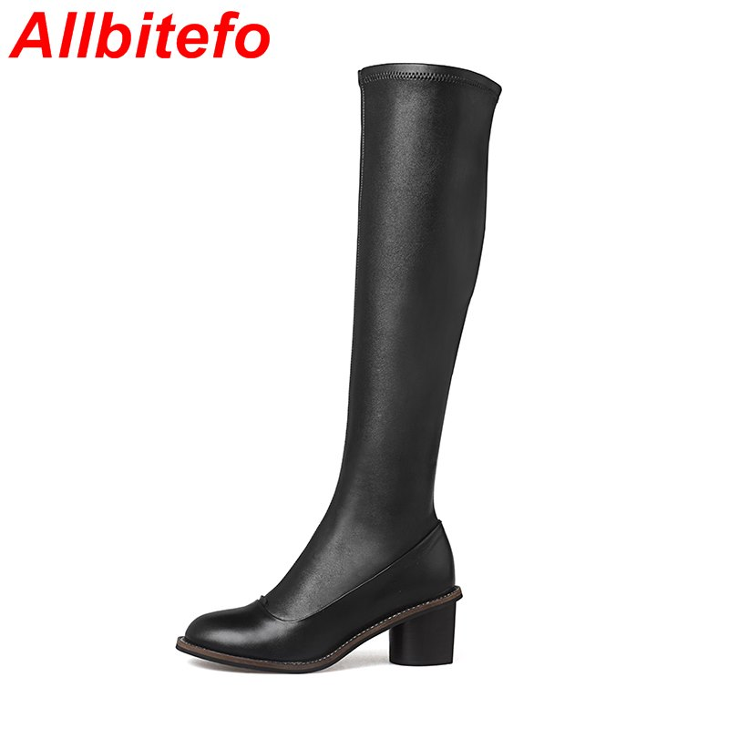 EURO size 33-43 Look slim Resilient women over the knee boots genuine leather +PU women long boots 2017 new thigh high boots