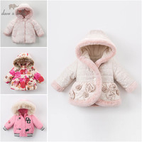 DBZ6517 dave bella winter baby girl Jackets toddler Hooded outerwear children hight quality padding coat