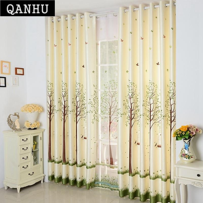 QANHU Pastoral Curtains For Kitchen Light Yellow Landing