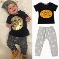 Líder urso Verão 2016 2 pcs Bebê Recém-nascido Meninos Miúdo T-shirt roupas Tops + Calças Outfits Define 0-24 roupas Para Crianças conjunto
