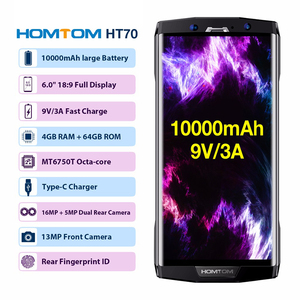 "Image 2 - HOMTOM HT70 10000mAh Battery 6.0"" HD 18:9 Screen Smartphone MTK6750T Octa Core 4G RAM 64G ROM 16MP+5MP Dual Cam 4G mobile phone"
