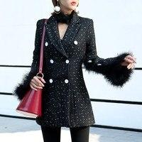 Autumn Winter Fashion Streetwear Split Button Fur Sleeve Tweed Coat Women Office Lady Double Breasted Coat