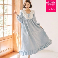 Flannel palacess warm winter new women sleep dress lace patchwork princess Nightgowns long sleeve v neck home clothes gx1262