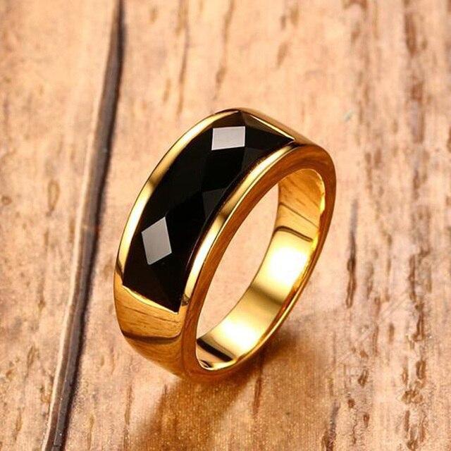 Men's Black Carnelian Stone Rings Gold Tone Stainless Steel Wedding Engagement B