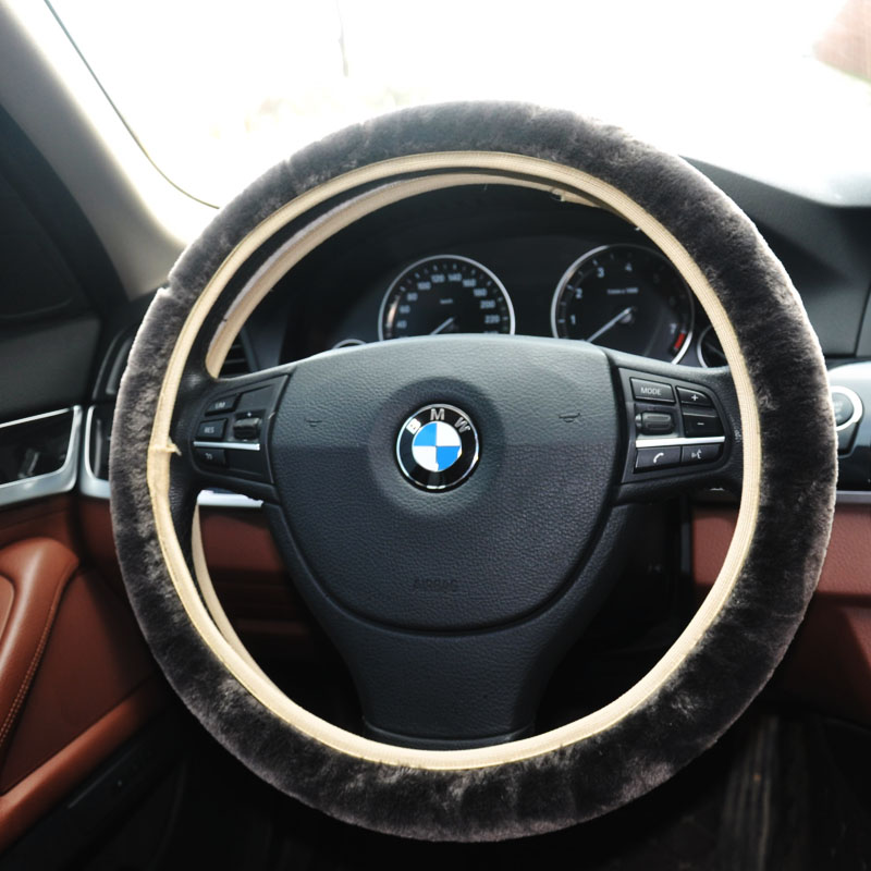 Car-covers Steering-wheel faux fur Steering Wheel Cover Genuine 5 colors black yellow gray white brown leather steering wheel