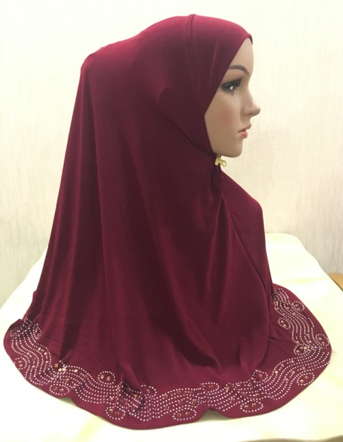 H1348 the most suitable size pull on hijab instant pray hijab with stones islamic scarf fast