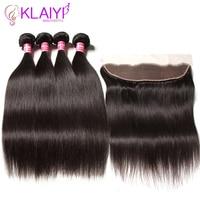 Klaiyi волос перуанские прямые пучки с фронтальной 100% человеческих волос Связки с закрытием 4bundles Волосы remy ткань